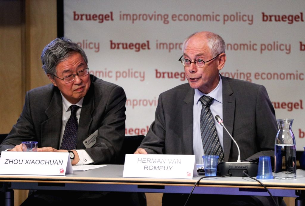 "BRUSSELS, Sept. 18, 2018 - Herman Van Rompuy (R), former president of the European Council and prime minister of Belgium, addresses the seminar ""Perils and potential: China-US-EU trade ..."