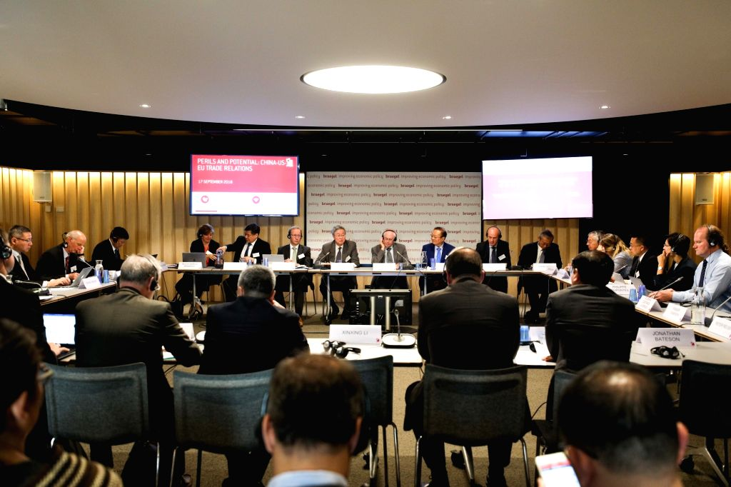 "BRUSSELS, Sept. 18, 2018 - Photo taken on Sept. 17, 2018 shows a scene of the seminar ""Perils and potential: China-US-EU trade relations"" held in Brussels, Belgium. Amid increasing tensions ..."