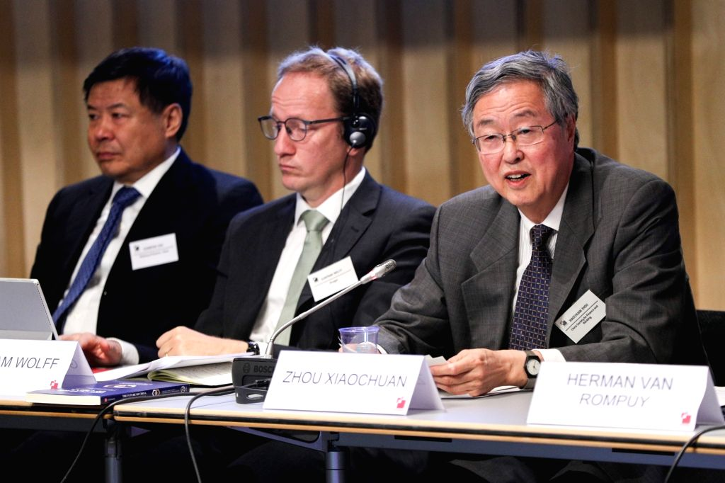 BRUSSELS, Sept. 18, 2018 - Zhou Xiaochuan (R), president of the China Society for Finance and Banking, who also serves as an adviser of China Center for International Economic Exchanges, addresses ...