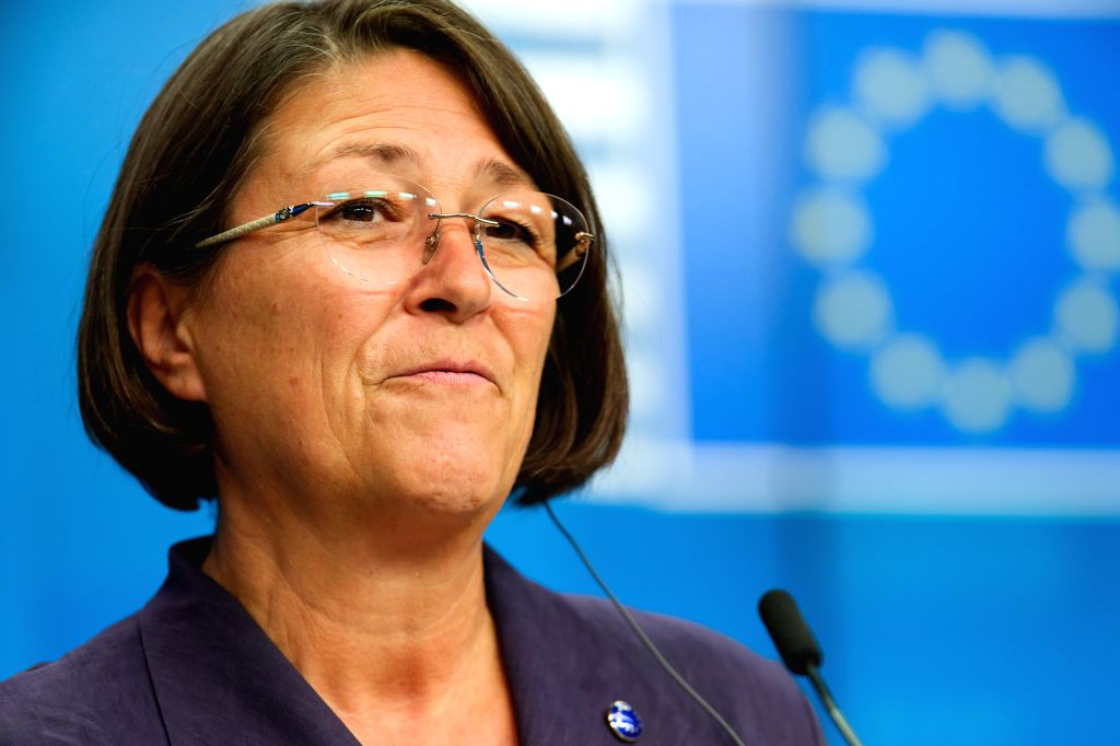 BRUSSELS, Sept. 20, 2019 - Violeta Bulc, EU Commissioner for Transport, attends a press conference of the EU Transport, Telecommunications and Energy Council, in Brussels, Belgium, Sept. 20, 2019.
