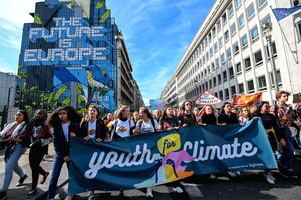 BRUSSELS, Sept. 20, 2019 - Young people participate in a march calling for action against climate change in Brussels, Belgium, Sept. 20, 2019.