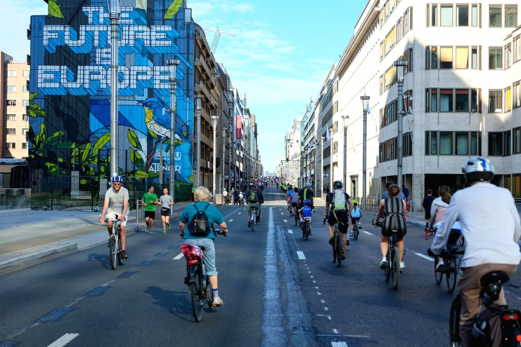 BRUSSELS, Sept. 22, 2019 - People cycle along a main avenue on the occasion of annual car free day in downtown Brussels, Belgium, Sept. 22, 2019.