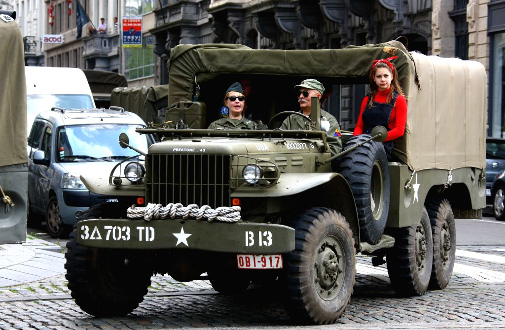 """An """"allied military vehicle"""" is seen during a ceremony held to mark the 70th anniversary of the liberation of Brussels in Brussels, Belgium, Sept. 5, ..."""