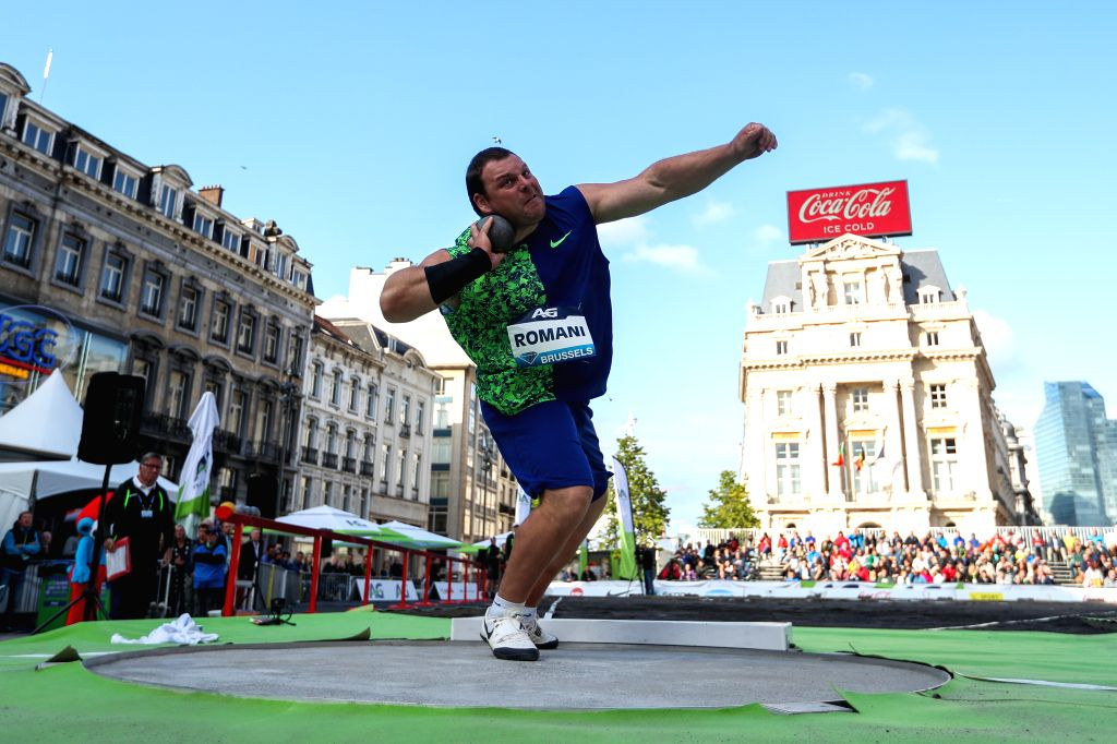 BRUSSELS, Sept. 6, 2019 - Darlan Romani of Brazil competes during the men's shot put final of the 2019 IAAF Diamond League Final in Brussels, Belgium, Sept. 5, 2019.