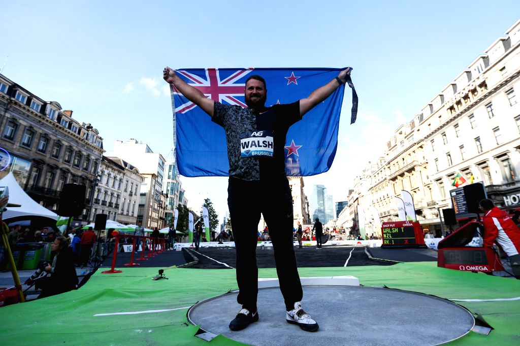 BRUSSELS, Sept. 6, 2019 - Tomas Walsh of New Zealand celebrates after the men's shot put final of the 2019 IAAF Diamond League Final in Brussels, Belgium, Sept. 5, 2019.
