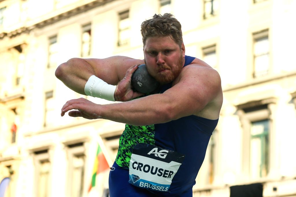 BRUSSELS, Sept. 6, 2019 (Xinhua) -- Ryan Crouser of the United States competes during the men's shot put final of the 2019 IAAF Diamond League Final in Brussels, Belgium, Sept. 5, 2019. (Xinhua/Zheng Huansong/IANS)