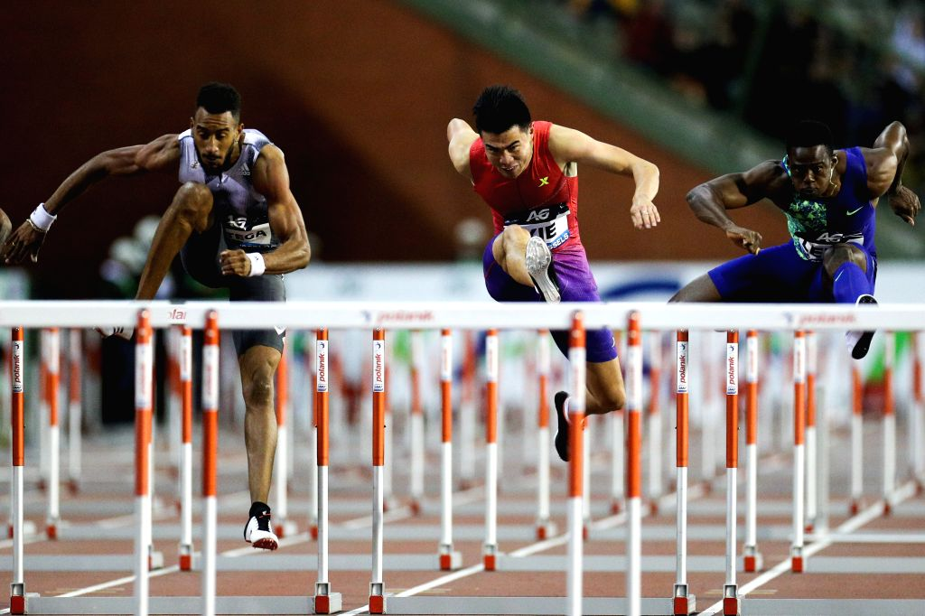 BRUSSELS, Sept. 7, 2019 - Xie Wenjun (C) of China competes during the men's 110m hurdles final of the 2019 IAAF Diamond League Final in Brussels, Belgium, Sept. 6, 2019.