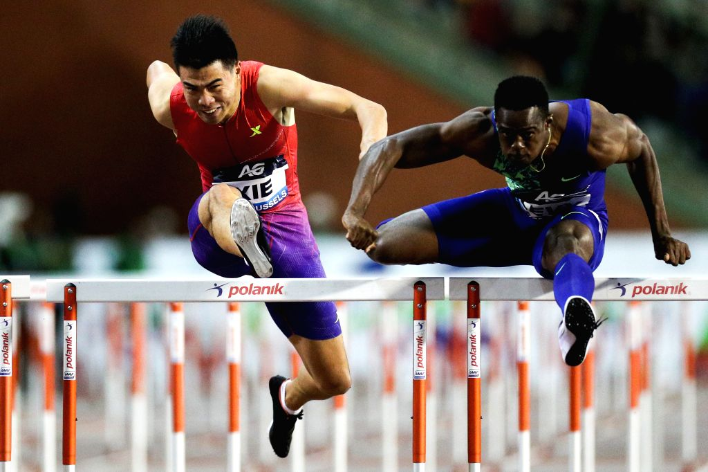BRUSSELS, Sept. 7, 2019 - Xie Wenjun (L) of China competes during the men's 110m hurdles final of the 2019 IAAF Diamond League Final in Brussels, Belgium, Sept. 6, 2019.
