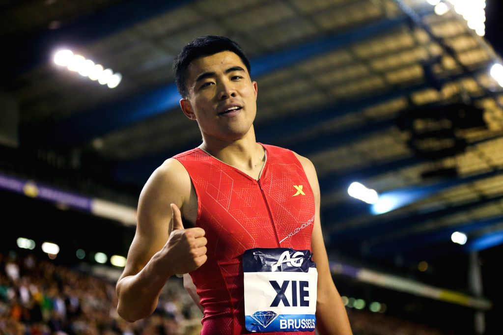 BRUSSELS, Sept. 7, 2019 - Xie Wenjun of China reacts after the men's 110m hurdles final of the 2019 IAAF Diamond League Final in Brussels, Belgium, Sept. 6, 2019.