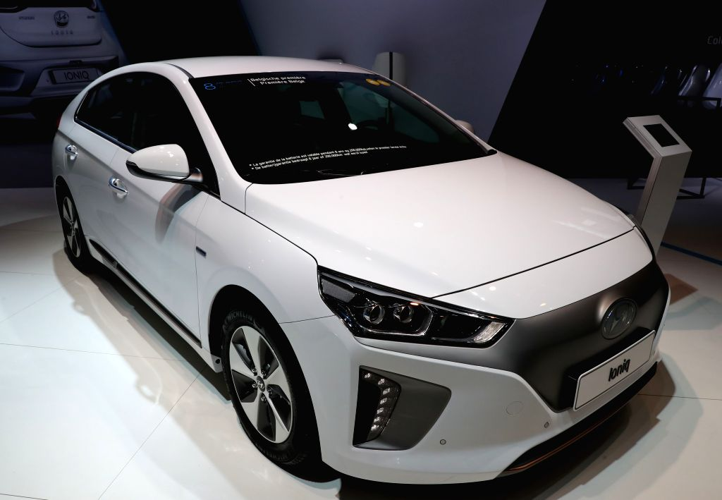 BRUSSLES, Jan. 14, 2017 - A Hyundai Ioniq is displayed during media day of the 95th European Motor Show for Cars and Motorcycles held in Brussels, capital of Belgium, Jan. 13, 2017.