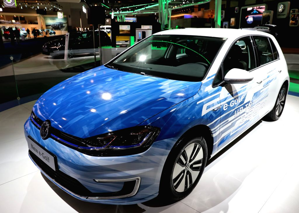 BRUSSLES, Jan. 14, 2017 - A Volkswagen new e-Golf is displayed during media day of the 95th European Motor Show for Cars and Motorcycles held in Brussels, capital of Belgium, Jan. 13, 2017.