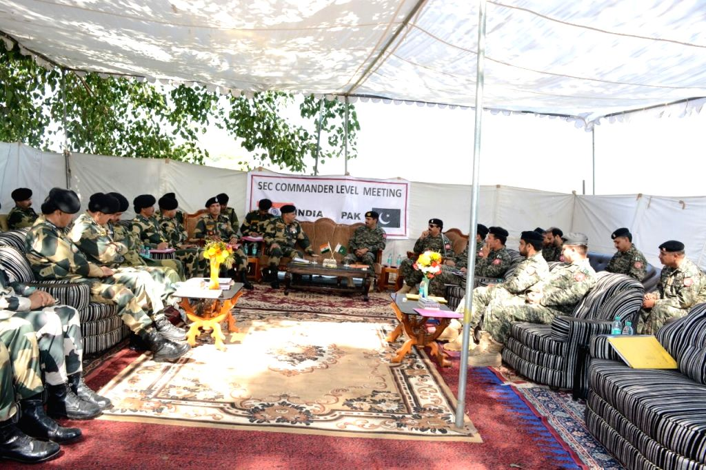 BSF and Pakistani Rangers during a sector commander level flag meeting at International Border in Suchetgarh sector of Jammu and Kashmir on March 9, 2017.