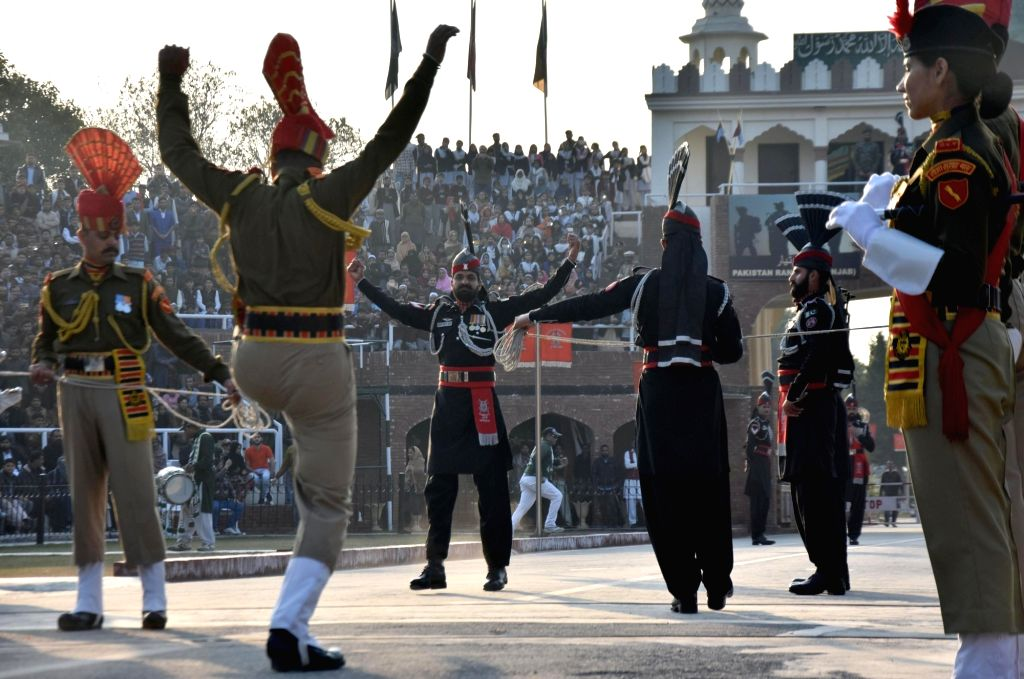 BSF and Pakistani Rangers participate in the Beating Retreat ceremony on India's Republic Day at India-Pakistan (Attari-Wagha) border in Punjab on Jan 26, 2019.