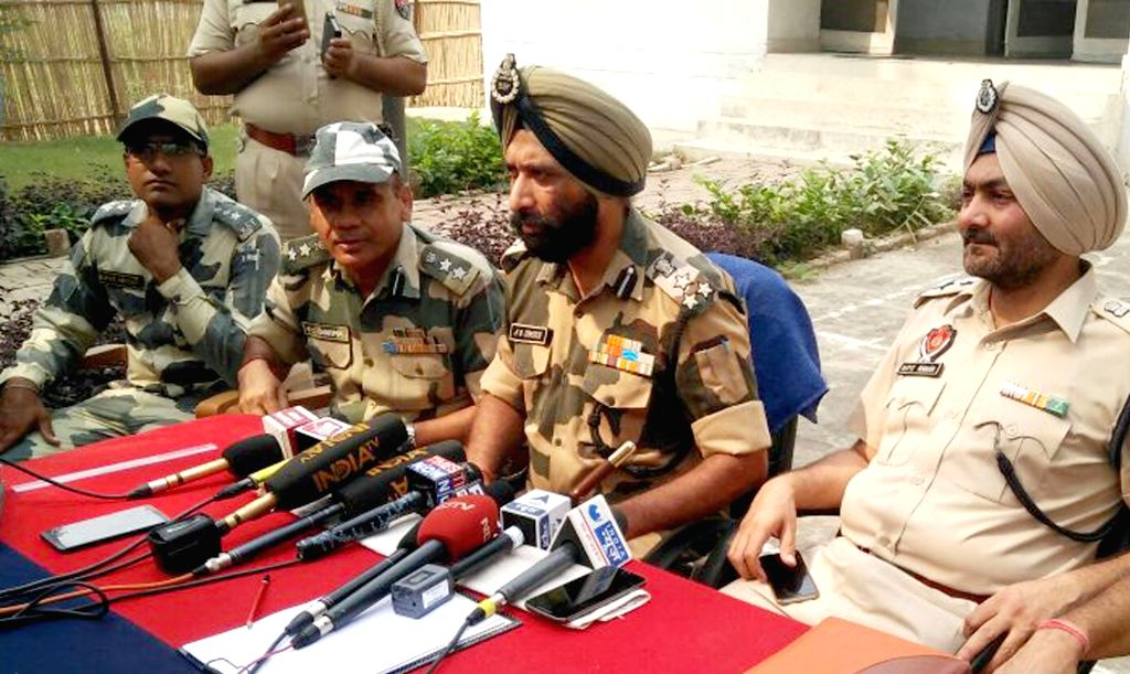 BSF officials address during a press conference on abandoned Pakistani boat that was seized by Border Security Force (BSF) from the Ravi river in the border belt of Punjab's frontier ...