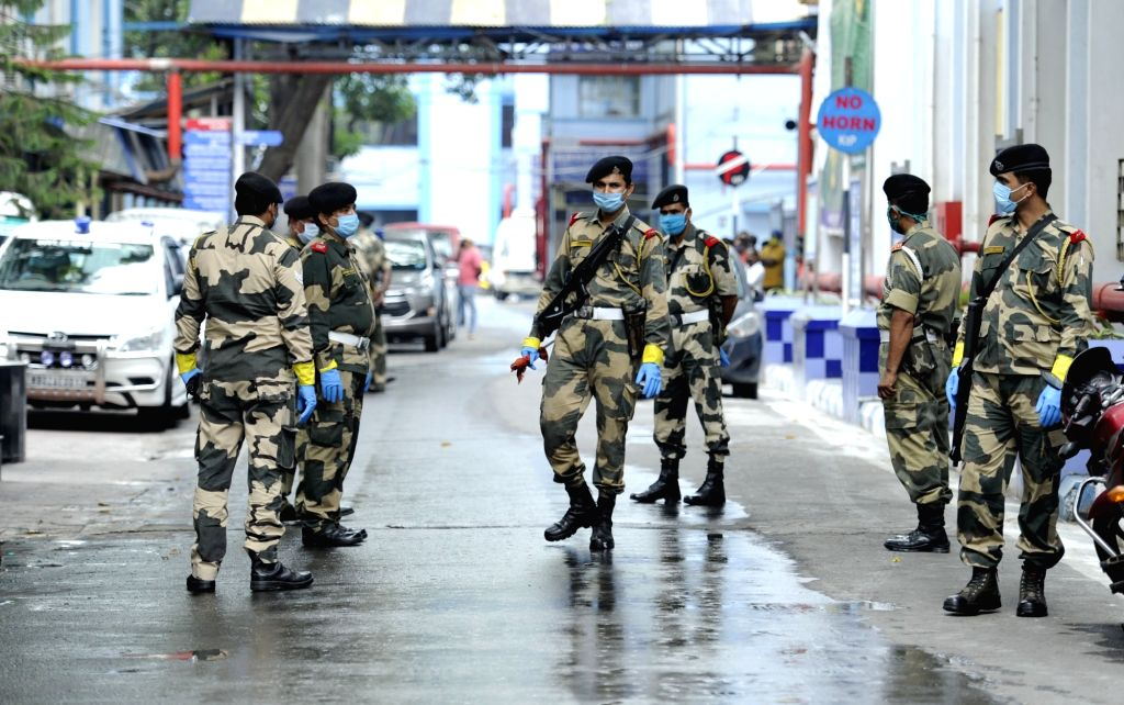 BSF personnel deployed at Kolkata's M R Bangur Hospital during the visit of a central vigilance team during the extended nationwide lockdown imposed to mitigate the spread of coronavirus; on ...