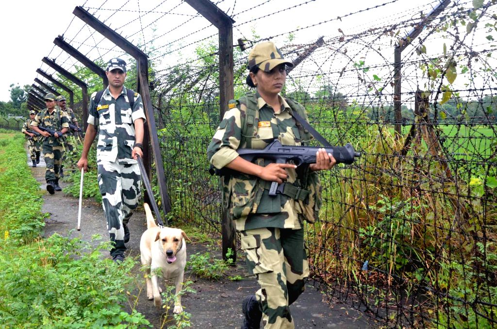 BSF personnel on a patrol duty along the Indo-Bangladesh border in Boxanagar, 74 kms south of Agartala on Aug 14, 2015.