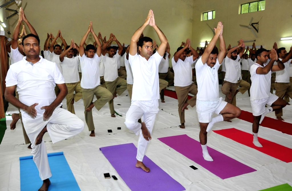 BSF personnel  practice Yoga Asans -postures- on International Yoga Day in Amritsar on June 21, 2017.