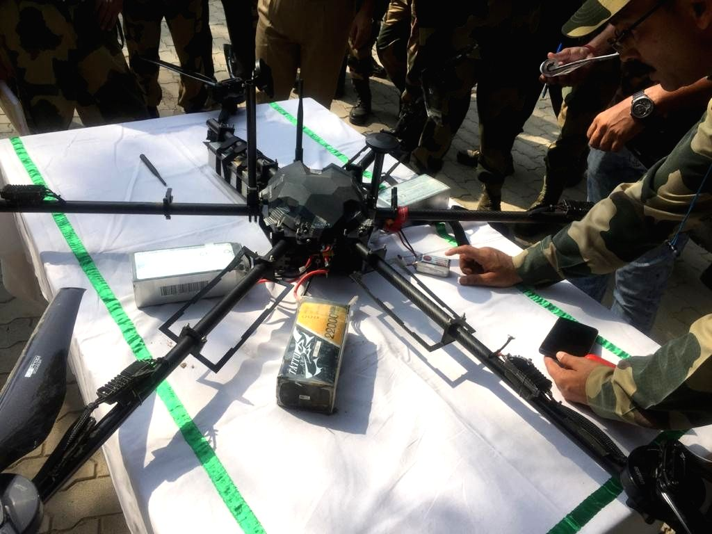 BSF shoots down Pak drone carrying weapons in J&K's Kathua.