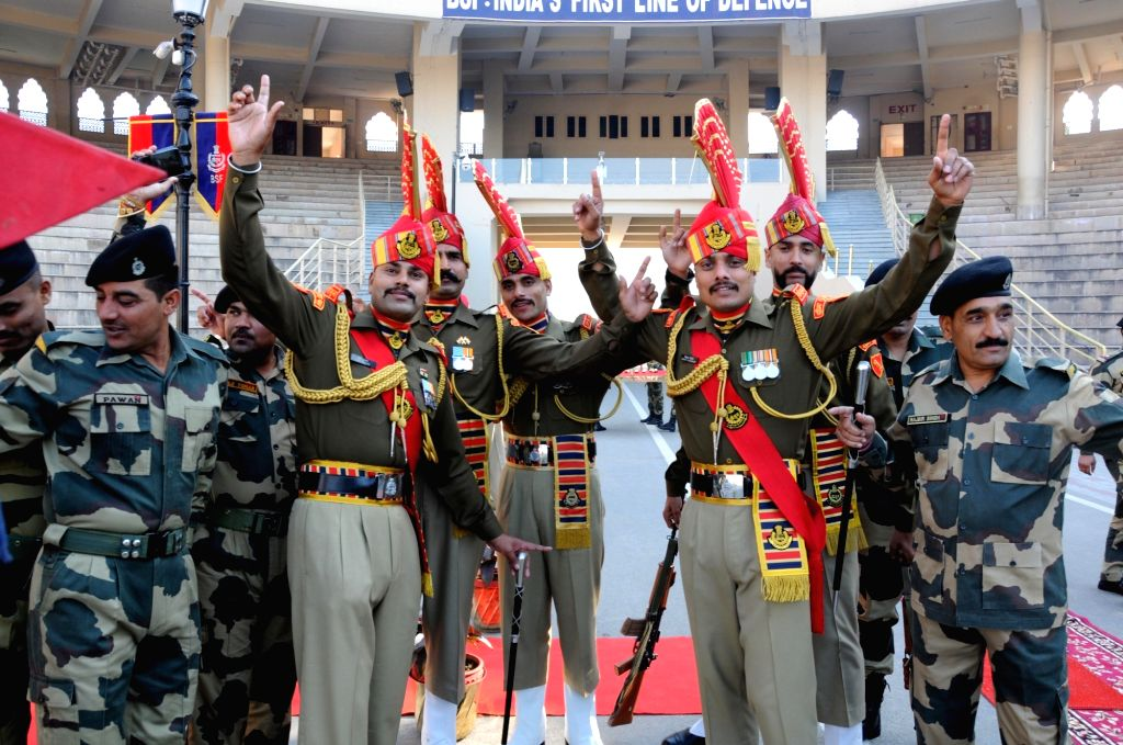 BSF soldiers during the 71st Republic Day celebrations at Indo-Pak border at Attari, near Amritsar on Jan 26, 2020.