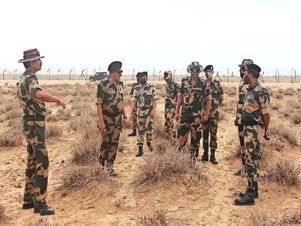 BSF team inspecting the site from where drug consignment was seized