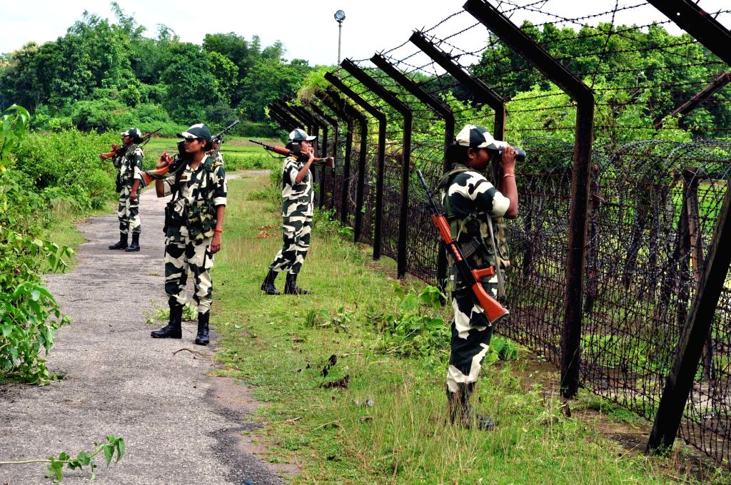BSF women soldiers on duty at Indo-Bangladesh border in Dhanpur, 85 km away from Agartala on Aug 12, 2014.