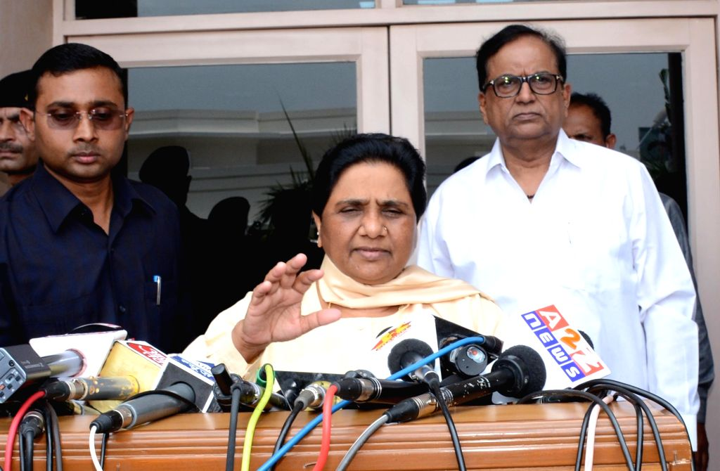 BSP chief Mayawati addresses a press conference after party's legislative party meeting in Lucknow on June 25, 2016.