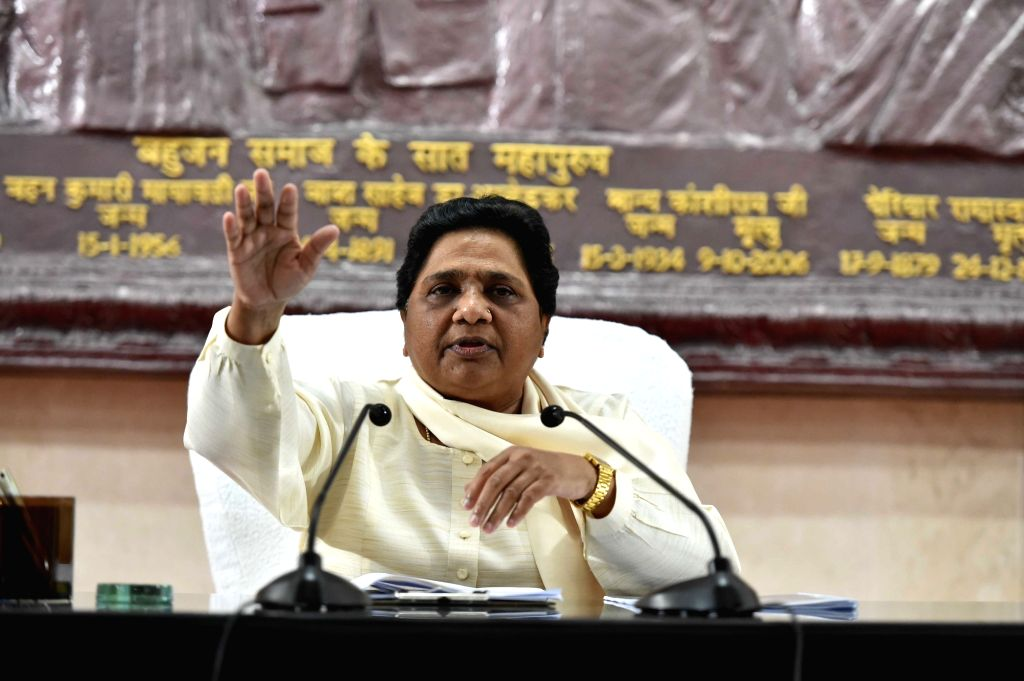 BSP chief Mayawati addresses a press conference at the party office, in Lucknow on Sept 16, 2018.
