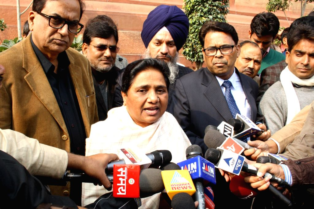 BSP chief Mayawati addresses press at the Parliament House after Lokpal Bill was passed in the Lok Sabha in New Delhi on Dec.18, 2013.