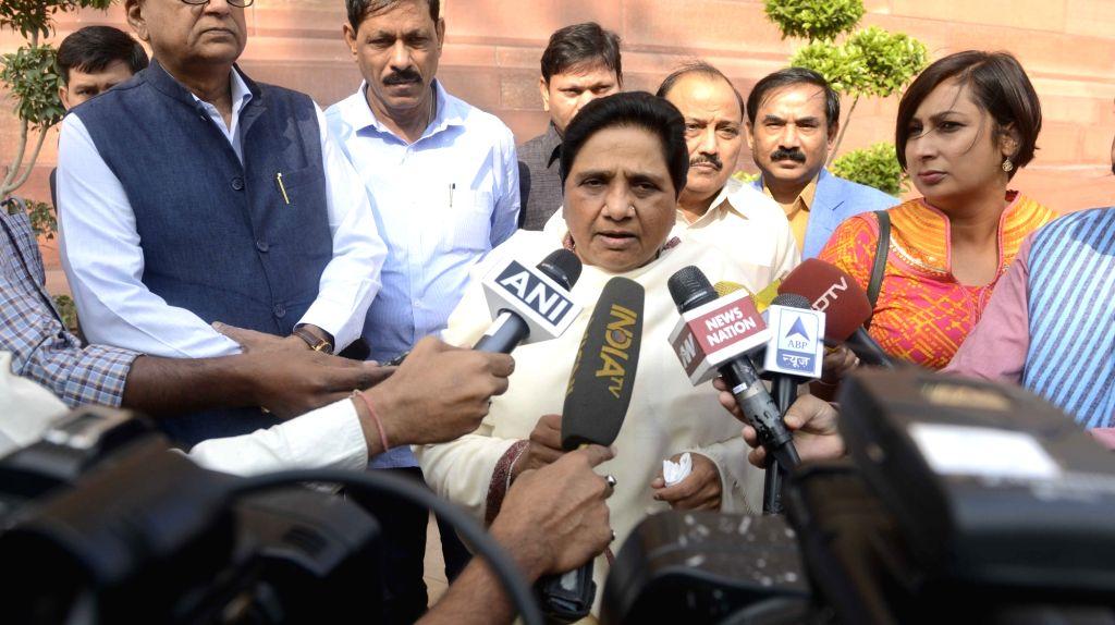BSP chief Mayawati at the Parliament in New Delhi on Nov. 17, 2016.