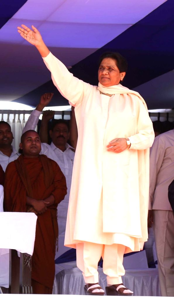 BSP chief Mayawati during the 125th birth anniversary celebrations of Dr BR Ambedkar in Lucknow, on April 14, 2016.