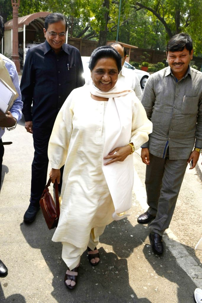 BSP supremo Mayawati at Parliament in New Delhi, on May 10, 2016.