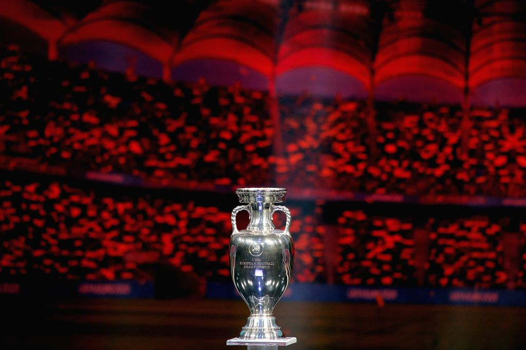BUCHAREST, Dec. 1, 2019 (Xinhua) -- The trophy is seen during the draw of the UEFA Euro 2020 soccer tournament finals in Bucharest, capital of Romania, Nov. 30, 2019. (Photo by Cristian Cristel/Xinhua/IANS)