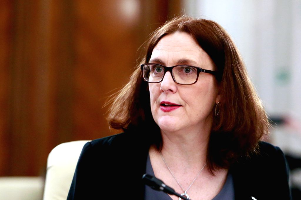 BUCHAREST, Feb. 22, 2019 - The European Trade Commissioner Cecilia Malmstrom reacts during an informal meeting of the European Union (EU) trade ministers in Bucharest, Romania, Feb. 22, 2019. The EU ...