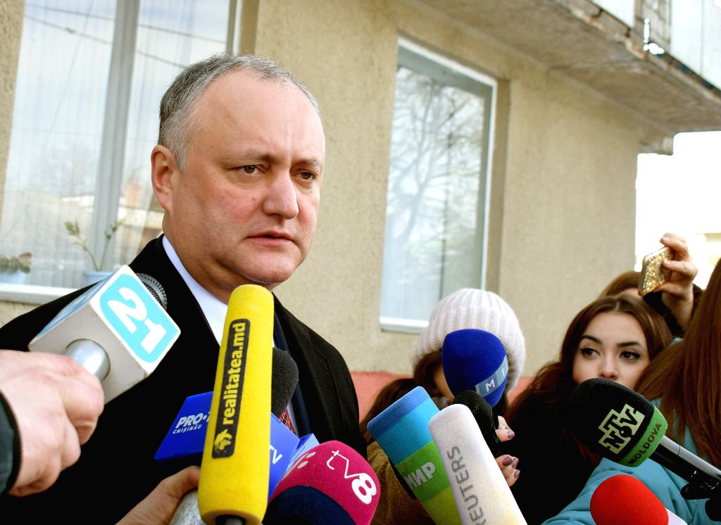 BUCHAREST, Feb. 24, 2019 - Moldovan President Igor Dodon speaks to the media after voting at a polling station in Chisinau, capital of Moldova on Feb. 24, 2019. Almost 3 million voters of the ...
