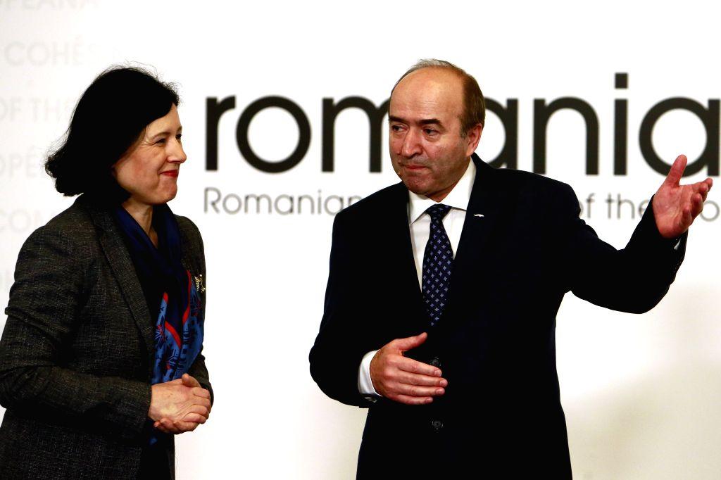 BUCHAREST, Feb. 9, 2019 - Romanian Justice Minister Tudorel Toader (R) welcomes European Justice Commissioner Vera Jourova at the EU Informal Justice Council meeting in Bucharest, Romania, Feb. 8, ... - Tudorel Toader