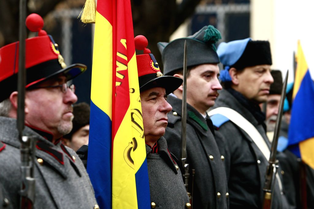 BUCHAREST, Jan. 24, 2019 - People wearing vintage military uniforms participate in an event marking the 160th founding anniversary of the Union of the Romanian Principalities in Bucharest, capital of ...