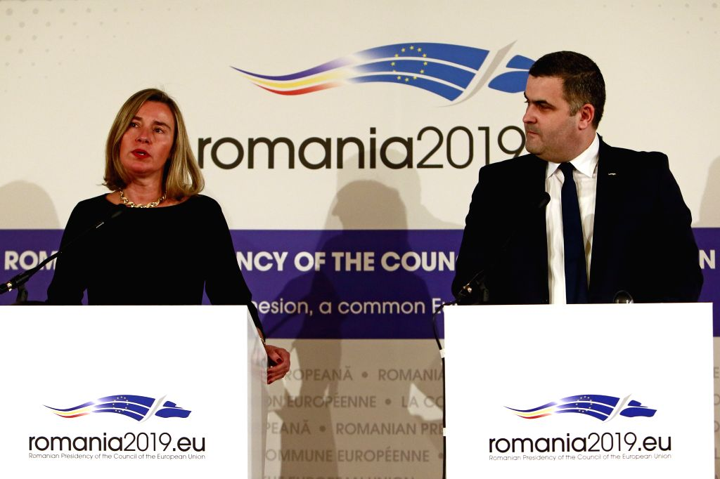 BUCHAREST, Jan. 31, 2019 - Federica Mogherini (L), EU's High Representative for Foreign Affairs and Security Policy, and Romanian Defence Minister Gabriel Les attend a news conference during the EU's ... - Gabriel Les