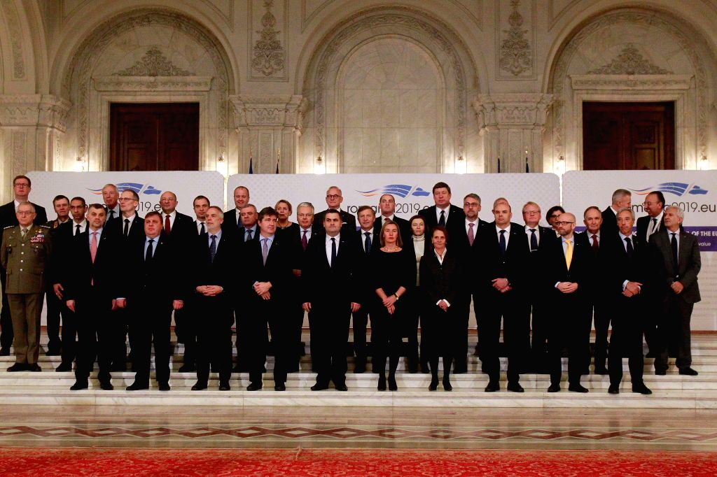 BUCHAREST, Jan. 31, 2019 - Participants pose for a group photo during the EU's informal meeting of defence ministers, in Bucharest, Romania, Jan. 31, 2019. The two-day informal meeting of defence ...