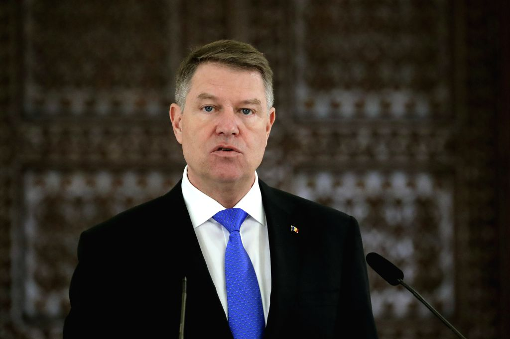 BUCHAREST, Jan. 31, 2019 - Romanian President Klaus Iohannis attends a news conference with NATO Secretary General Jens Stoltenberg (not in the picture) in Bucharest, Romania, Jan. 31, 2019. NATO ...