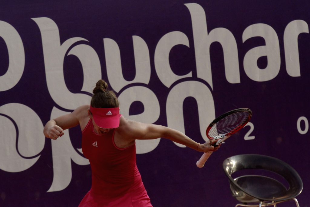 World No. 3 Simona Halep celebrates during the women's singles match against Indy De Vroome of the Netherland at the 2014 Bucharest Open tennis tournament in ...
