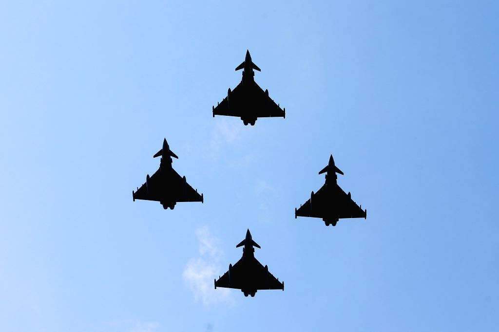 BUCHAREST, July 20, 2019 - Military airplanes fly in formation during Aviation Day celebrations in Bucharest, capital of Romania, July 20, 2019.