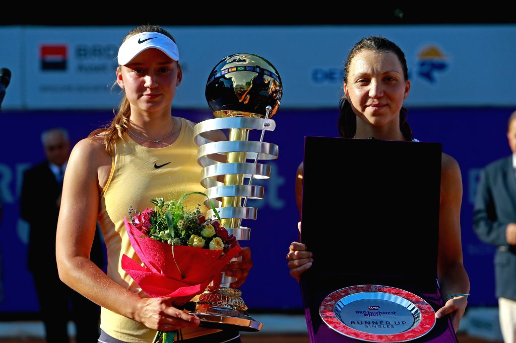 BUCHAREST, July 22, 2019 - Elena Rybakina (L) of Kazakhstan and Patricia Maria Tig of Romania hold their throphies during the awarding ceremony after the singles final match between Patricia Maria ...