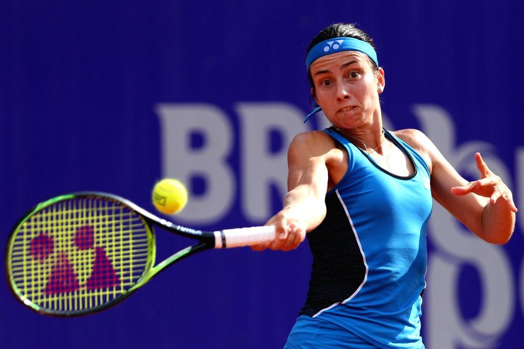 BUCHAREST, July 23, 2018 - Anastasija Sevastova of Latvia returns the ball to Petra Martic of Croatia during the final match at the BRD Bucharest Open 2018 WTA tournament in Bucharest, capital of ...