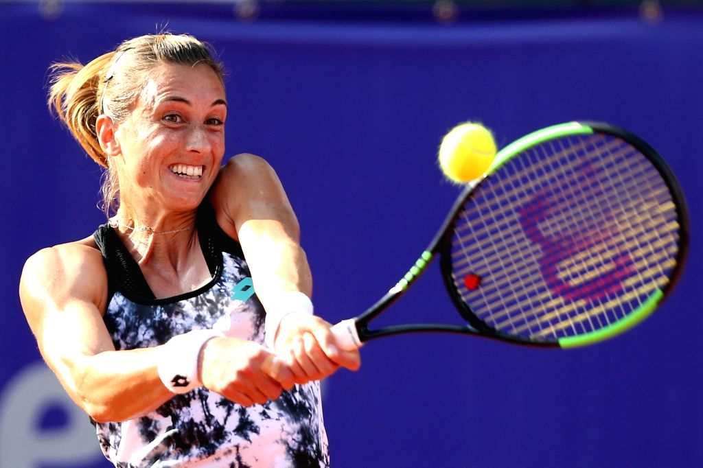 BUCHAREST, July 23, 2018 - Petra Martic of Croatia returns the ball to Anastasija Sevastova of Latvia during the final match at the BRD Bucharest Open 2018 WTA tournament in Bucharest, capital of ...