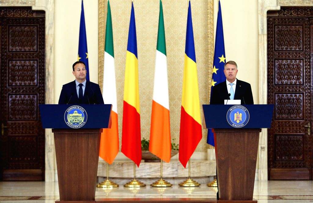 BUCHAREST, July 24, 2018 - Romanian President Klaus Iohannis (R) attends a joint press conference with Irish Prime Minister Leo Varadkar at Cotroceni Presidential Palace in Bucharest, capital of ... - Leo Varadkar