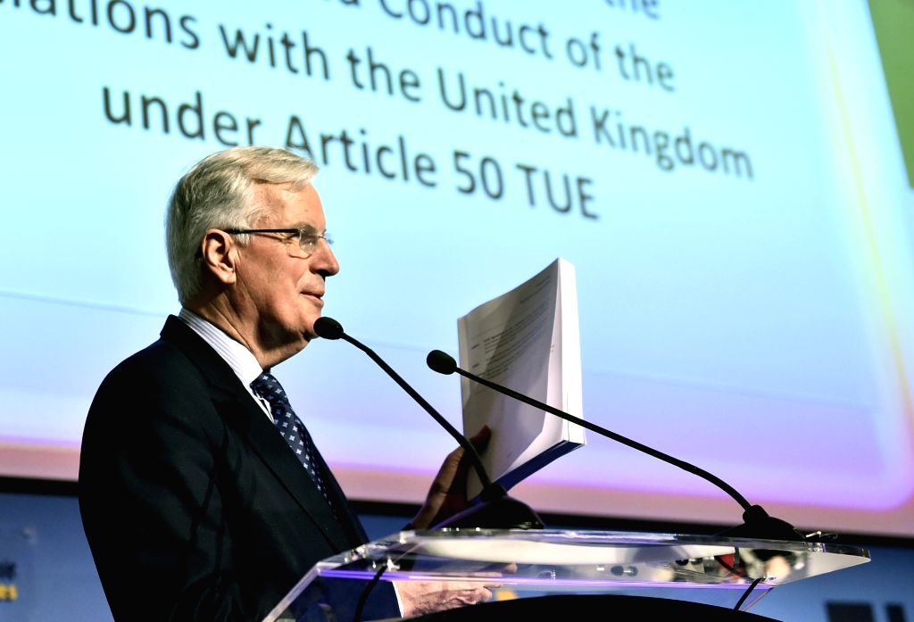 BUCHAREST, March 15, 2019 - European Union chief Brexit negotiator Michel Barnier delivers a speech at the European Summit of Regions and Cities in Bucharest, capital of Romania, March 14, 2019. ...