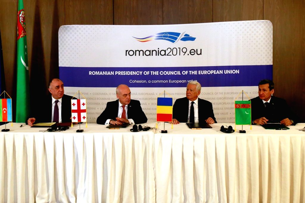 BUCHAREST, March 4, 2019 - Romanian Foreign Minister Teodor Melescanu (2nd R), Azerbaijani Foreign Minister Elmar Mammadyarov (1st L), Georgian Foreign Minister David Zalkaliani (2nd L) and ... - Teodor Melescanu