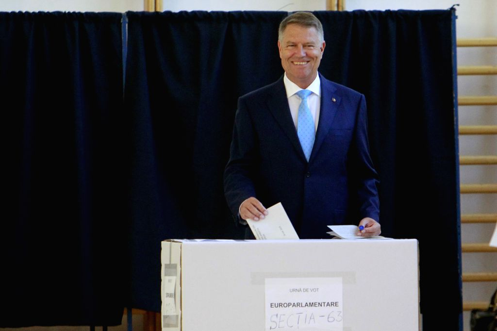 BUCHAREST, May 26, 2019 - Romanian President Klaus Iohannis votes at a polling station in Bucharest, Romania, May 26, 2019. The European Parliament (EU) elections started in Romania on Sunday.