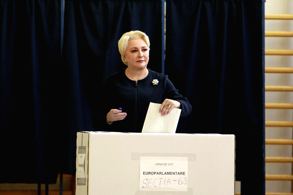 BUCHAREST, May 26, 2019 - Romanian Prime Minister Viorica Dancila votes at a polling station in Bucharest, Romania, May 26, 2019. The European Parliament (EU) elections started in Romania on Sunday. - Viorica Dancila