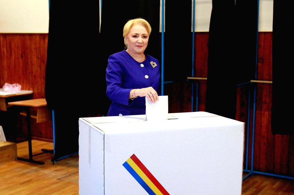 BUCHAREST, Nov. 10, 2019 - Romania's former Prime Minister and presidential candidate Viorica Dancila casts her ballot at a polling station in Bucharest, Romania, Nov. 10, 2019. Romanian voters went ...